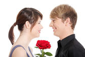 Young couple and rose. — Stock Photo