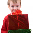 Stock Photo: Happy boy with presents