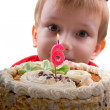 Happy boy with a cake — Stock Photo