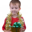 Happy boy with presents — Stock Photo