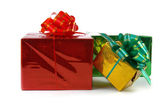 Multi-colored boxes with presents — Stock Photo