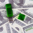 USB flash on a money background — Stock Photo
