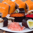 Traditional japanese sushi and rolls close up — ストック写真