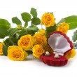 Beautiful yellow roses and box — Stock Photo