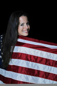 Woman Wrapped in a Flag — Foto de Stock
