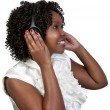 Black Woman with Headphones - Stock Photo