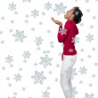 A Black Woman Catching Snowflakes — Stock Photo