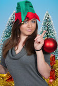 Woman Elf Holding Christmas Ornament — Stock Photo