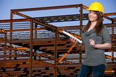 ženské stavební dělník — Stock fotografie