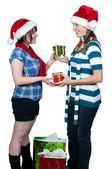 Amigos, trocar presentes — Foto Stock