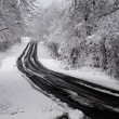 Snow storm on a rural highway — Stock Photo
