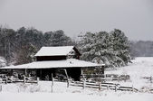Old Horse Stable in the Snow — Stock Photo