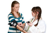 Woman Doctor Patient Blood Pressure — Stock Photo