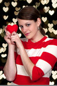Valentines Day Heart Woman — Stock Photo
