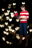 Valentines Day Heart Box Gift Woman — Stock Photo