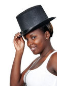 Woman Wearing a Top hat — Stock Photo