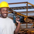 Construction Worker with Drill — Stock Photo