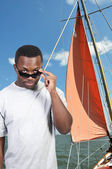 Black Man Sunglasses — Stock Photo