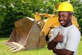 černá stavební dělník — Stock fotografie