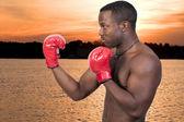 Svart man boxer — Stockfoto