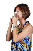 Asian Woman Blowing Nose — Stock Photo
