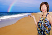 Asian Woman at the Beach — Stock Photo