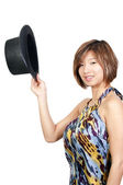 Asian Woman Wearing a Top hat — Stock Photo