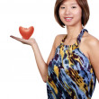 Beautiful Asian Woman with Heart Shaped Apple — Stock Photo