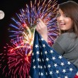 Woman at Fireworks at Full Moon — Stock Photo