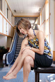 Asian Woman with Sore Feet — Stock Photo
