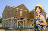Asian Female Construction Worker — Stock Photo