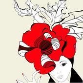 Femme avec un chapeau rouge — Vecteur