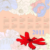 Colorful calendar with flowers 2011 — Stock Vector