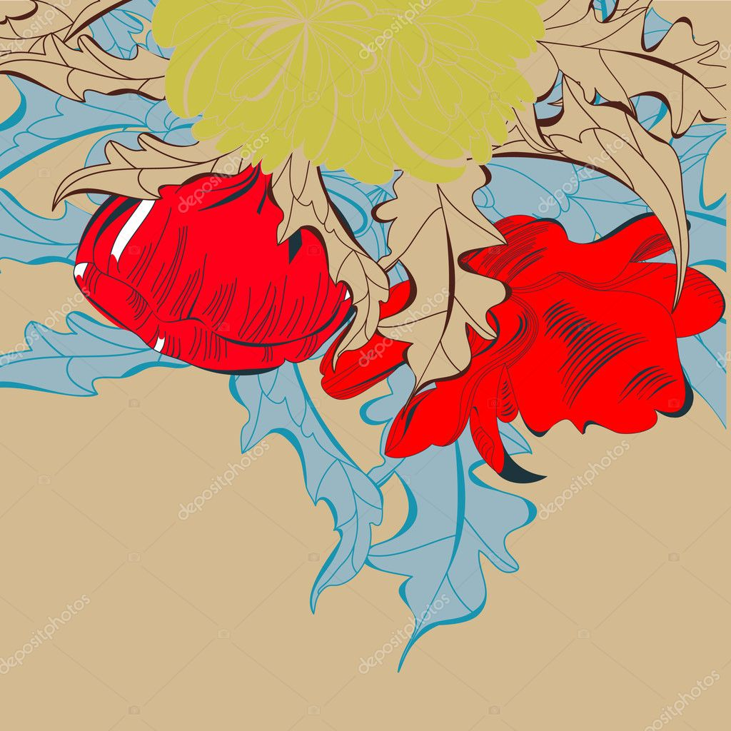 Card with red flowers — Stock Vector #4002644