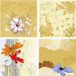 Four grunge floral background — Stock Vector #4026714