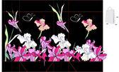 アイリスの花で装飾的なバッグ — ストックベクタ