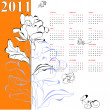 Calendar for 2011 with rose — Stock Vector