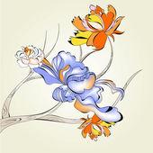árbol decorativo con flores — Vector de stock