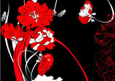 Red flowers on black background — Stock Vector