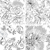 Set of seamless wallpaper — Stock Vector