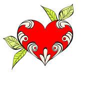 çiçek öğe ile kırmızı kalp — Stok Vektör