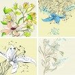 Set of floral card — Stock Vector