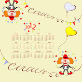 Calendar for 2012 with circus illustration — Stock Vector