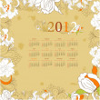 Retro stylized calendar for 2012 — Stock Vector