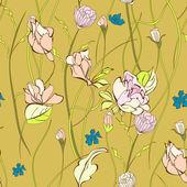 Seamless mönster med dekorativa blommor — Stockvektor