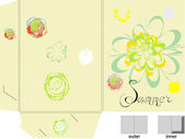 Template for folder with flowers — Stock Vector