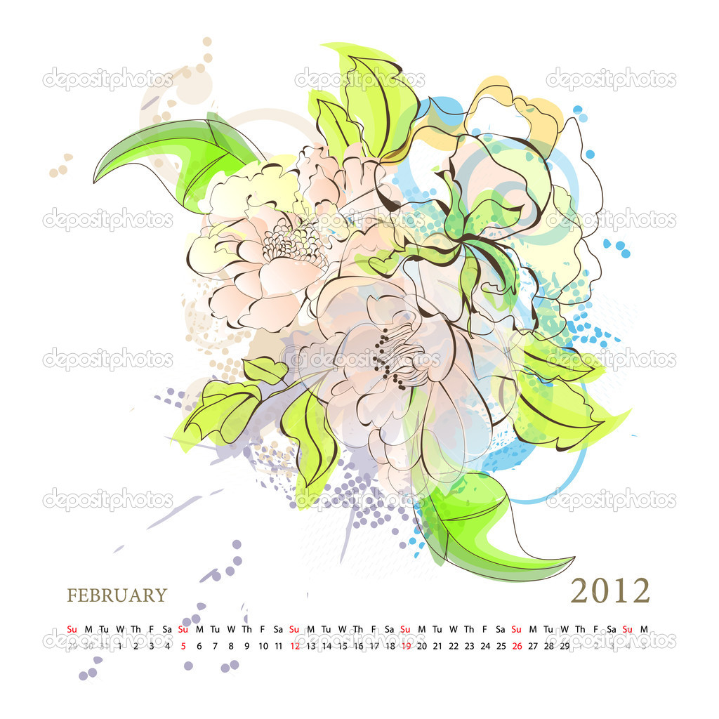 Calendar for 2012, february  Stock Vector #5318013