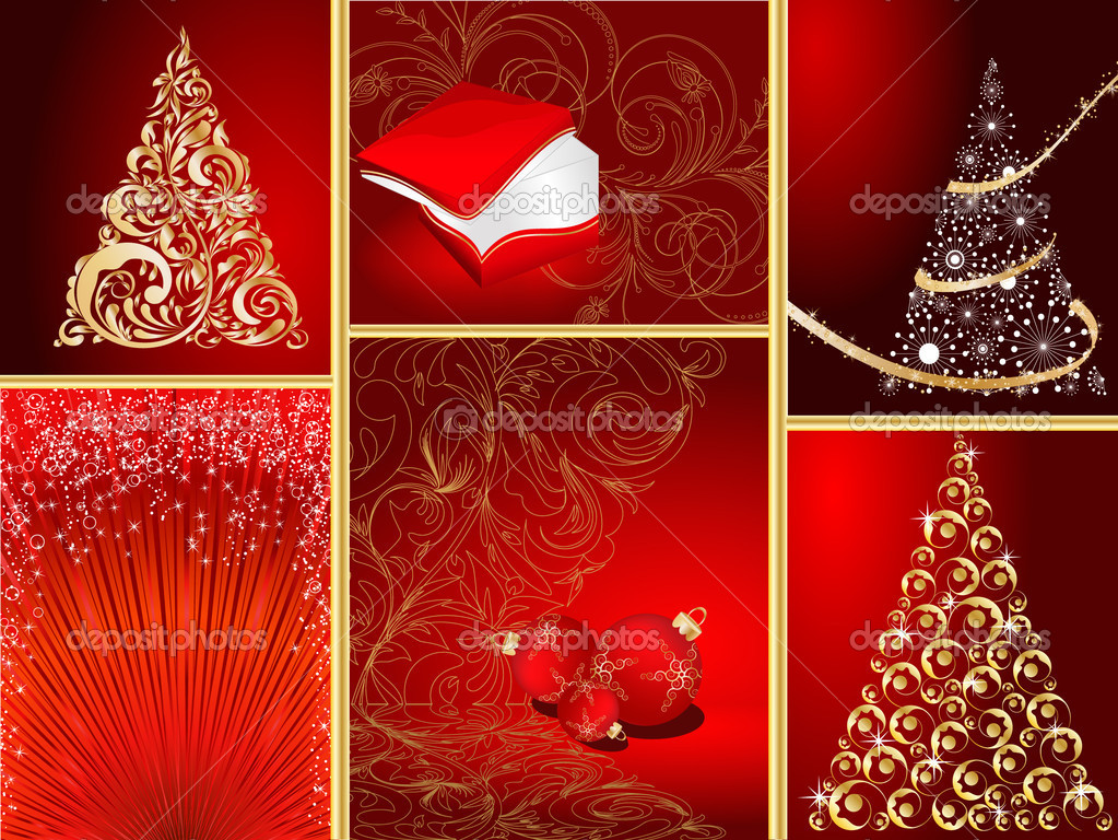 Set of stylized Christmas card — Stock Vector #4143221