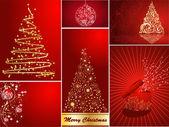 Zestaw stylizowane kartki świąteczne — Wektor stockowy
