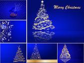 Satz von stilisierten Weihnachtskarte — Stockvektor